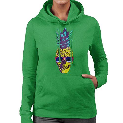 Skull Pineapple Women's Hooded Sweatshirt Kelly Green