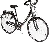 Ultrasport Damen Aluminium City-Fahrrad, 7 Gang, Reifengröße: 28 Zoll (71,1 cm), schwarz, 30900000082