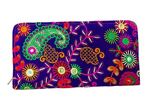 PEEGLI Indische Ethnische Neue Gestickte Geldbörse Schöne Kupplung Stilvolle Brieftasche