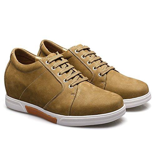 CHAMARIPA Männer Aufzug Schuhe Wildleder Skate Schuhe Sneaker - 7,5 cm Erhöhen - K70M83-1 Braun