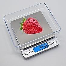 Báscula Digital con dos Tazones Removibles para Cocina de Alta Medición Precisa, Balanza Electrónica Digital para Cocina (0.1-3kg, Incluye dos baterías AAA)