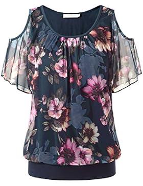 BAISHENGGT-Blusa Top para Mujer Estampado Floral