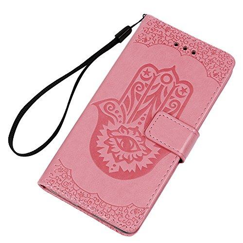"""Badalink Etui Cuir en TPU pour iPhone 7 Plus 4.7"""" Silicone Relief Souple Scratch Cas de Téléphone Peint Coloré Housse Fermeture Magnétique Support Portefeuille Carte Slots Fleur d'Impression - Vert Rose"""
