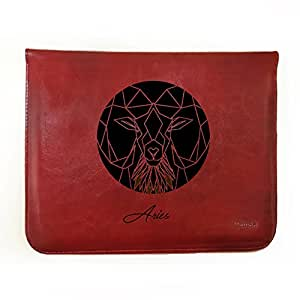 "Hamee Tan Brown Leather Tablet Case for Samsung Tab A SM-T355YZAAINS Tablet (8 inch) ""Zodiac Aries"""
