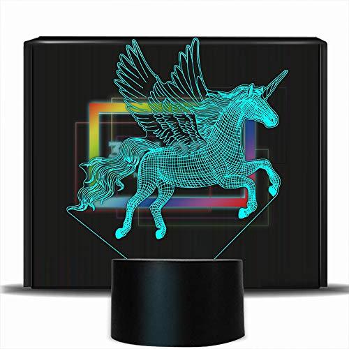 PONLCY Novedad 3D Illusion Lamps LED Unicorn Night Lights USB 7 Colores Sensor Lámpara de Escritorio para niños Regalos de cumpleaños de Navidad Decoración del hogar