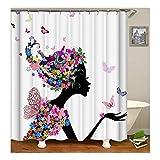 Beydodo Badvorhang Anti-Schimmel Schmetterling Blume Mädchen Badezimmer Duschvorhang 180X200CM