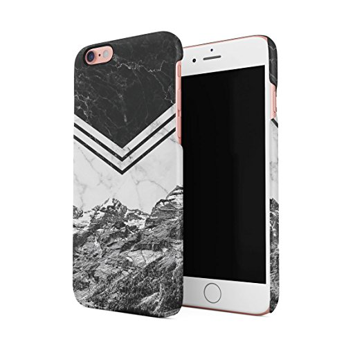Icy Mountains White Marble & Rose Gold Blocks Custodia Posteriore Sottile In Plastica Rigida Cover Per iPhone 6 & iPhone 6s Slim Fit Hard Case Cover Mountain Marble