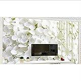 Murales de pared 3D wallpaper TV telón de fondo personalizado papel de pared 3d para sala de estar Flores blancas simples papel tapiz de perlas-400x280cm