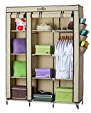 #10: YUTIRITI Fancy Double Door Large Cream Portable Multipurpose Waterproof Fabric Wardrobe Closet Organizer - 51 x 17 x 68 Inch