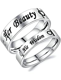 """Beydodo His and Hers Rings Size H 1/2-V 1/2 """"Her Beauty"""" and """"His Wisdom"""" Heart Silver Stainless Steel Ring"""