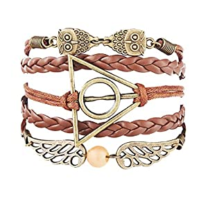 (Hellbraunes) Armband – Geflochten – Zauberer Harry – Die Heiligtümer des Todes – Owl-Ali – Goldener Schnatz – Dreieck – Mann – Frau – Unisex