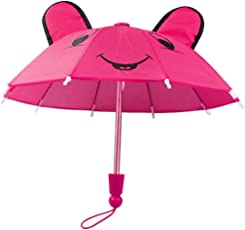 Mingfa.y_doll accessories Cute Panda Ear Handmade Doll Umbrella Doll Accessories for American Girl Baby Born,18-Inch(Red)