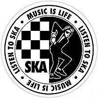 1art1® Ska - Listen To Ska, Music Is Life Logo Vinilo Decorativo Pegatina Autoadhesivo (9 x 9cm)