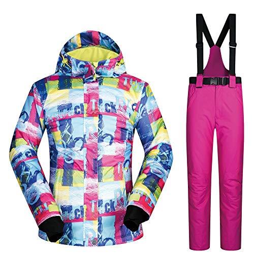 ChenYongPing Skijacke Frauen Wasserdichte Ski Snowboard Jacke wasserdicht Winddicht Schnee Mantel Ski Jacke und Hose Schnee isoliert Anzug Ideale Skikleidung (Farbe : Rose red Pants, Größe : S)