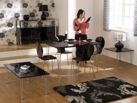 Roxanne Rectangular Dining Set, Black Table and Four Black Chairs