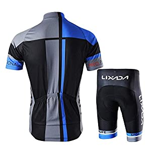 Lixada Cycling Jerseys Men T-Shirt and Shorts Cycling Clothing Set for Outdoor Cycling
