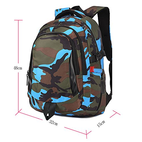 BOZEVON Jungen Mädchen Wasserdichte Rucksack für Kinder Unisex Schulrucksäcke Rucksack für Reisen, Wandern Blau-L