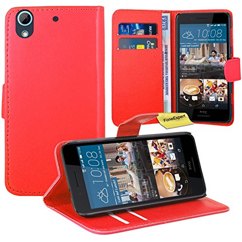 HTC Desire 728G Handy Tasche, FoneExpert® Wallet Case Flip Cover Hüllen Etui Ledertasche Lederhülle Premium Schutzhülle für HTC Desire 728G (Rot) Media Wallet Case