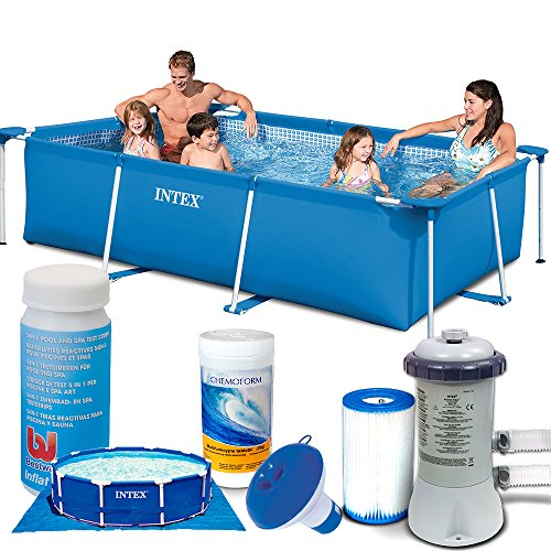 7in1 Set Rectangular Frame Pool 260 x 160 x 65cm mit Filterpumpe 2271 Liter / Stunde INTEX 28271