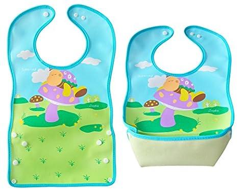 BOMIO   großes Lätzchen mit faltbarer Auffangschale   für Babys und Kleinkinder   wasserabweisend und leicht abwaschbar   kindgerechte Tiermotive   geprüft nach EN 71   Schlafmütze