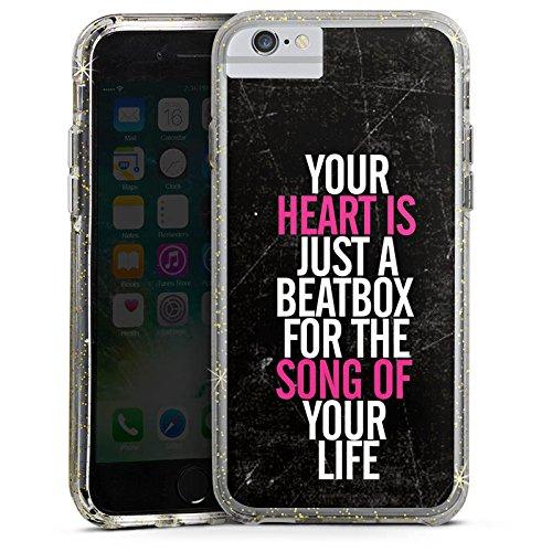 Apple iPhone 8 Bumper Hülle Bumper Case Glitzer Hülle Herz Heart Music Bumper Case Glitzer gold