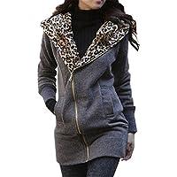 Minetom Leopard Zip Capispalla Maniche Lunghe Con Cappuccio Sweat Jacket