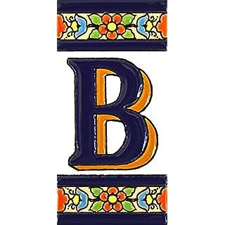 Schilder mit Zahlen und Nummern auf vielfarbiger Keramikkachel. Handgemalte Kordeltechnik fuer Schilder mit Namen, Adressen und Wegweisern. Persoenlich gestaltbarer Text. Design FLORES MEDIANO 10,9cm x 5,4 cm (BUCHSTABEN