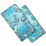 MRSTER iPhone 6 Plus Étui à Rabat 3D Désign Portefeuille Housse [Magnétique] [Fonction Stand] [Porte Carte] PU Cuir Protection Coque pour Apple iPhone 6 Plus / 6S Plus. XY 3D Blue Butterfly
