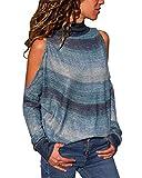 Damen Bluse Lange Ärmel Schulterfreie Hemd Hoher Kragen Tops Gestreift Bunt Chiffon Geometrie Spleißen T-Shirt Sweatshirt Irregulär (Grün, M)