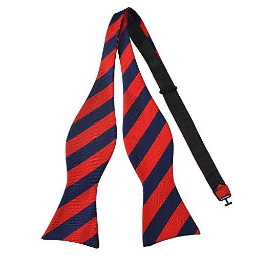 PenSee Herren Fliege, zum Selbstbinden, klassisches Design mit Streifenmuster, gewebte Seide, verschiedene Farben erhältlich Gr. One size, Dark Blue and Red Stripe Blue Stripe Bow Tie