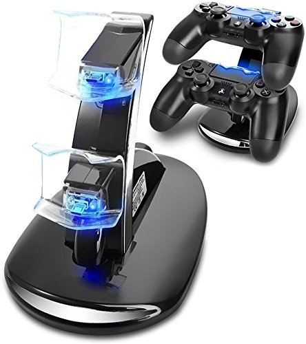 Keyixing PS4 Dual Controller USB Docking Station con indicatore LED per PS4 / PS4 Pro / PS4 Slim