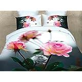 155x200 3D Bettwäsche 3tlg Bettwäscheset Blume Blumen-Muster Bettbezüge Microfaser Bettwäschegarnituren FSH 430