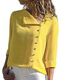 HWTOP Bluse Tops Damen Oberteil Langarm Hemd Bluse Arbeitshemd Business Stehkragen Revers V-Ausschnitt Einfarbig Lose Freizeithemd Frühlings Herbst Tops Elegant Sexy Lang T-Shirt