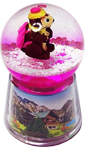 Boule à neige Marmotte lumineuse LED - Rose