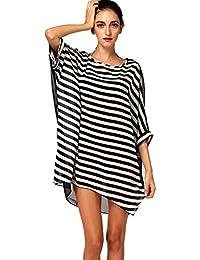 Finejo Women's Chiffon Beach Dress One Size White Black