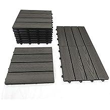 WPC piastrelle 1 m² grigio - Effetto legno per balcone terrazza piastrelle di Gartenpirat