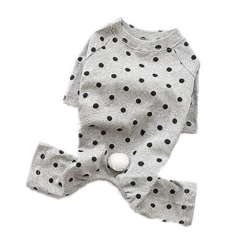 PZSSXDZW Haustierhundekostüm Sommer Puppy Lässige Polka Dot Kleidung Hundekleidung Heimtierbedarf,Grey,S