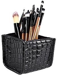 Cosmetics Makeup Brush Holder Set Bag Set Vanity Case Pu Leather Storage Organizer Black