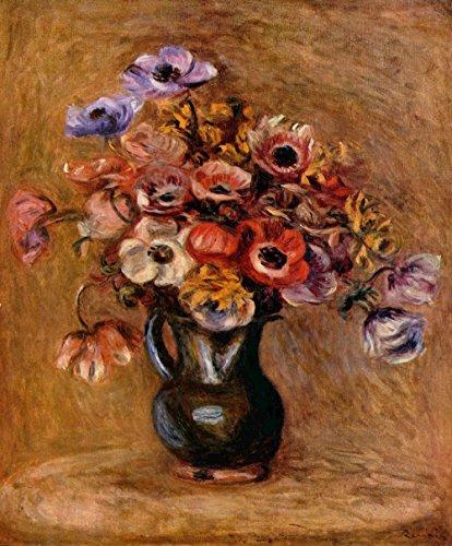 Pierre Auguste Renoir Still Life (Spiffing Prints Pierre Auguste Renoir - Still Life Vase - Extra Large - Archival Matte - Brown Frame)