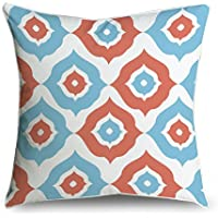 fabricmcc Blu e bianco Moroccan Pattern Square accento decorativo Throw Pillow Cover cuscino 18 X 18