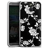 HTC One E8 Hülle Silikon Case Schutz Cover Blumen Muster