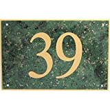 ENGRAVED ACRYLIC HOUSE NUMBERS IN GREEN WITH GOLD FLECK 6