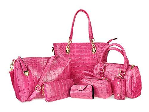 Hoxis - Set assortito di borse da donna, 7pezzi, design semplice, in finta pelle verniciata effetto coccodrillo, con borse a spalla, clutch, tote e tracolla, 6colori pink
