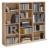 WILMES CD-Regal mit 13 Fächern, Spanplatte Melamin beschichtet, Korpus Buche Dekor, 102 x 23 x 90 cm