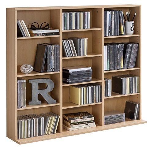WILMES CD-Regal mit 13 Fächern, Spanplatte Melamin beschichtet, Korpus Buche Dekor, 102 x 23 x 90 cm -