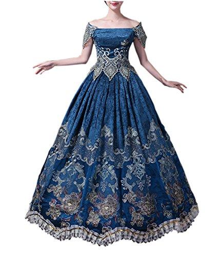 Damen Viktorianisches Kleid mit Krinoline Renaissance mittelalterliche Maxi Palace Royal Masquerade Kostüm (blau, ()