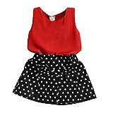 Amur Leopard Conjunto de Niña de Camiseta Roja y Falda Negro con Lunares para niñas de 8-9 años