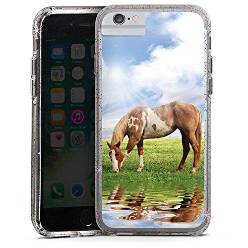 Apple iPhone X Bumper Hülle Bumper Case Glitzer Hülle Ponny Horse Pferd Bumper Case Glitzer rose gold