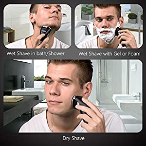 Electric Shaver, Men's Rotary Shavers Electric Shaving Razors Wet and Dry 3D Rechargeable with Pop-up Beard Trimmer IPX7 Waterproof