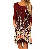 HCFKJ Kleid, Damen Sommer 2018 Langarm-Casual Sommerkleid Blumendruck  O-Neck Pocket Dress 4e3575062c